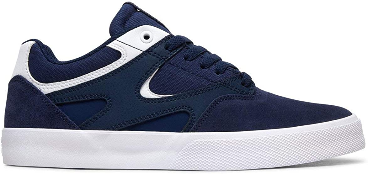 DC Mens Kalis Vulc S Skate Shoe, Adult Navy/White