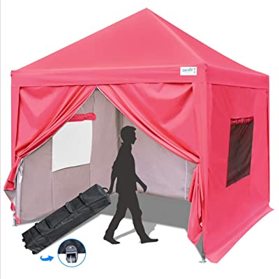 Quictent Privacy 10x10 Ez Pop up Canopy Tent Enclosed Instant Canopy Shelter with Sidewalls and Mesh Windows Waterproof (Pink) : Garden & Outdoor