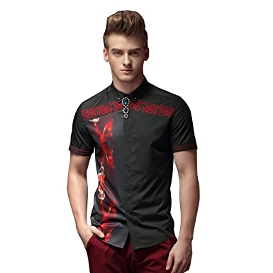 dc17f031 FANZHUAN Black Shirts for Men Polyester Men Shirt Slim Fit Casual Men Shirt  Fitted
