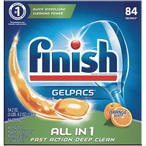 Finish All in 1 Gelpacs Orange, 84ct, Dishwasher Detergent Tablets by Finish