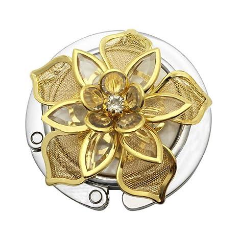 Leezo Golden Flower Pattern Round Folda bletable Hook aufhänger Caja con Revestimiento de Goma Antideslizante para