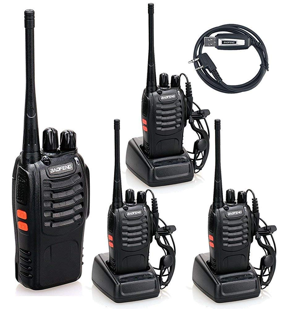 BaoFeng BF-888S Handheld 5W Two Way Ham Radio Walkie Talkie with Earpiece Built in LED Torch Pack of 4