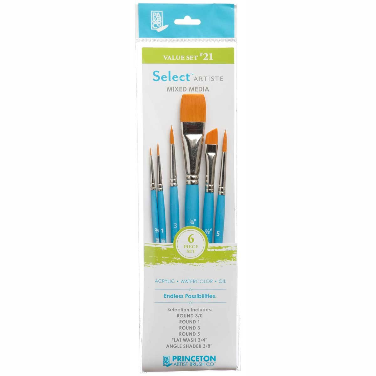 Princeton Select Artiste, Mixed-Media Brushes for Acrylic, Oil, Watercolor Series 3750, 6 Piece Value Set 122