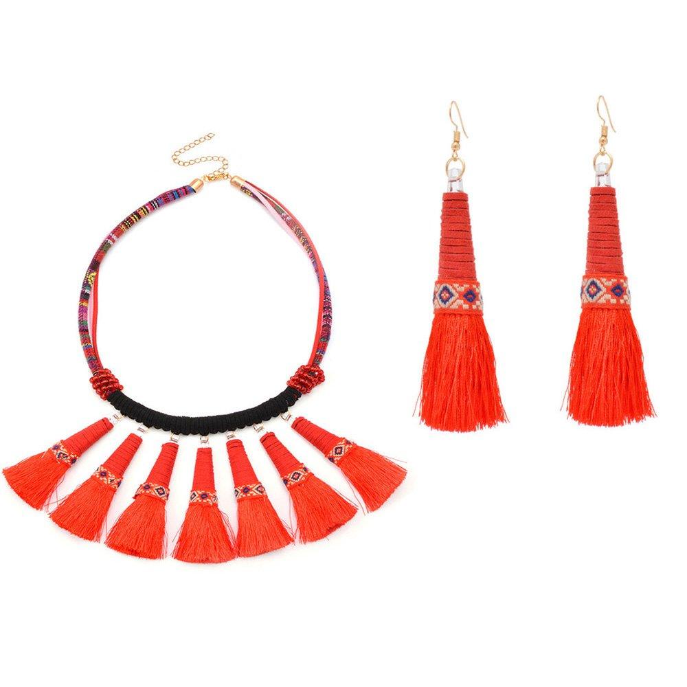 Mrotrida Tassel Necklace Set for Women Girls Big Ethnic Bohemia Long Pearl Pendants Statement Choker Necklace with Tassel Earrings for Dress T-Shirt Bikini Red