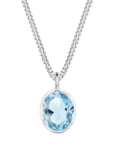 Elli 0103291115 Women's Necklace with Basic Gemstone Pendant, 925 Silver Topaz Brilliant Cut Blue