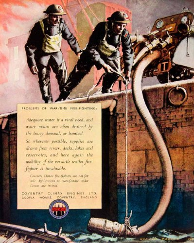1942 Ad Coventry Climax Engines War Time Firefighting World War II Norman Hepple - Original Print Ad