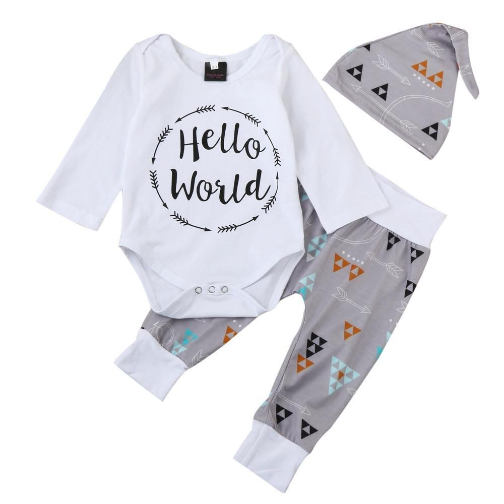QUICKLYLY 3pcs Recién Nacido Infantil Bebé Chico Carta Impresión Mameluco Tops + Flecha Pantalones + Sombrero Trajes Ropa Conjunto