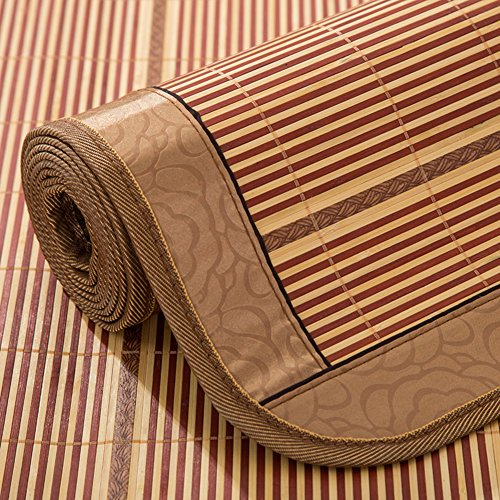 Bleached Single Fold Towels - Zzaini Double Sided Ice Silk mat, Carbonized Bamboo Summer Sleeping mat Cooling Single Bed Folding Straw mat-A 90x190cm(35x75inch)