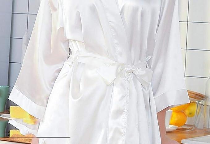 Batas de Seda de Seda Vestido de Maquillaje de Boda túnicas de Punto Vestidos de Novia para Dama de Honor Ropa para el hogar Batas Pijamas (Color : Rosado, Tamaño : XXXL):