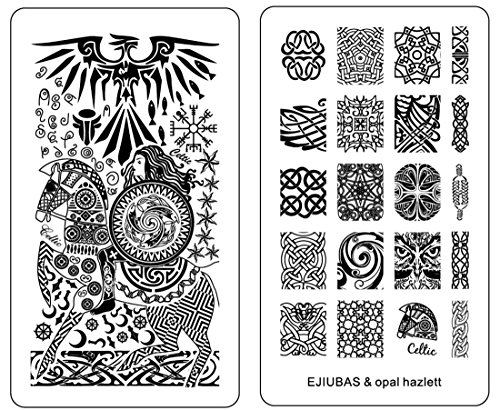 Ejiubas 1 Count Double-Sided Nail Stamping Plates Celtics Style Easy DIY Nail Art Nail Design Plates Christmas Gift