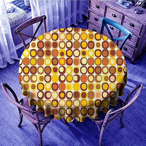 ScottDecor Mid Century Circular Table Cover Kitsch and Retro Styled Round Edged Square Pattern in Old Earth Tones Summer Round Tablecloth Brown Yellow Coral Diameter 60