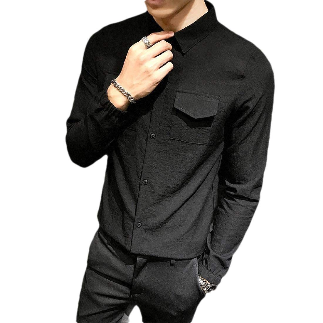 Comaba Mens Regular Fit Solid Colored Long Sleeve Point Collar T-Shirts