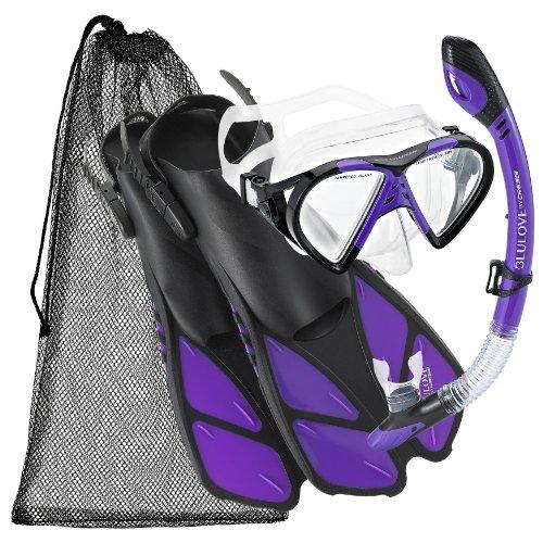 Cressi Adjustable Mask Fin Snorkel Set with Carry Bag, PR-SM