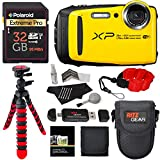 Fujifilm FinePix XP120 Waterproof Digital Camera - Yellow, Polaroid 32GB SD Memory Card, Ritz Gear Flexi Tripod, Ritz Gear Point and Shoot Camera Case, Floating Strap,Cleaning Kit and Accessory Bundle