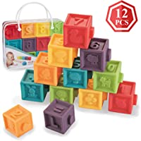 Soft Baby Blocks (Set of 12), Kingtree Squeeze Building Blocks for Toddlers, Colorful Stacking Block Set Teething Chewing Early Educational Puzzle Toys for 6+ Months with Numbers Animals BPA-Free