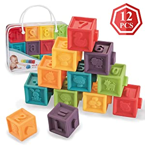 Kingtree Soft Baby Blocks (Set of 12), Squeeze Building Blocks for Toddlers, Colorful Stacking Block Set Teething Chewing Early Educational Puzzle Toys for 6+ Months with Numbers Animals BPA-Free