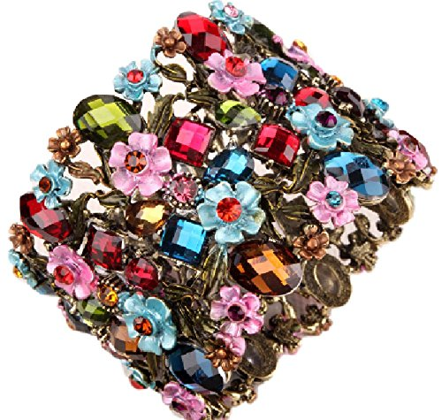 [Cute Cuff] Woman Vintage Crystal Flower Wide Bracelet ( Colorful / Elastic band / Man crafted / Multi color )