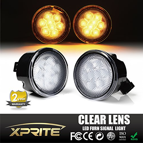 [Xprite LED Yellow Front Replacement Turn Signal Light Assembly with Clear Lens for 2007 - 2017 Jeep Wrangler] (Clear Signal Lenses)
