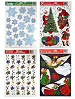 PAPER MAGIC Static Cling Window Christmas Decorations (Snowmen Santa Angels & Snowflakes)