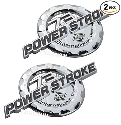 2 Pack 7.3L POWER STROKE International Diesel Side Fender Emblems, 3D Nameplate Badges Door