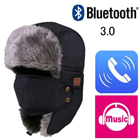 b9a572618f6 Image Unavailable. Image not available for. Color  Gsha Winter Waterproof  Faux Fur Hat Thick Bluetooth ...