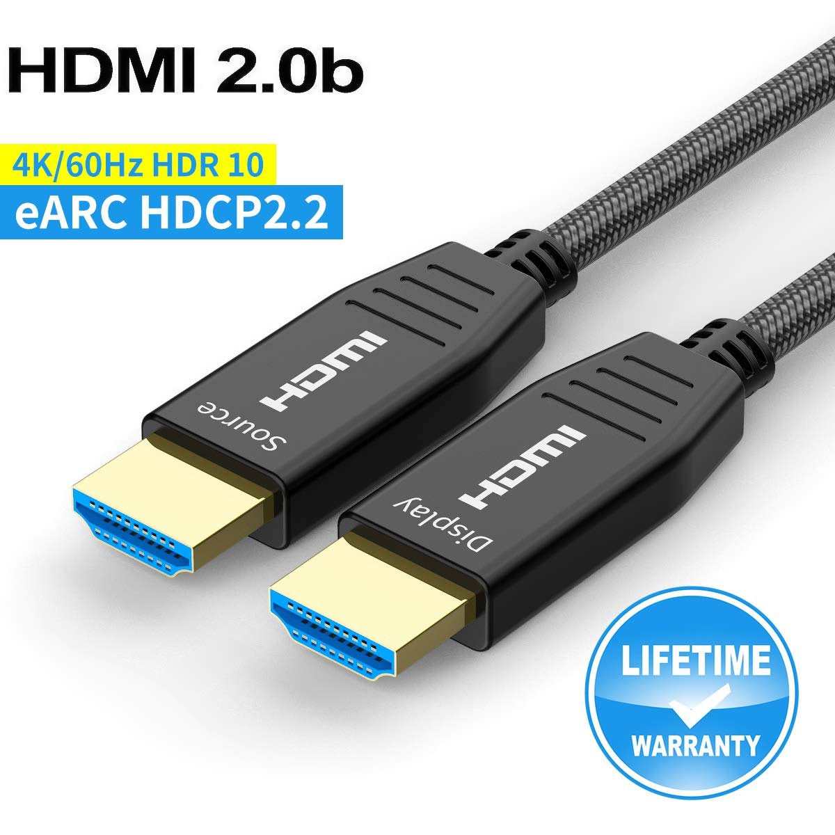 Fiber HDMI Cable 100ft 4K 60Hz, FURUI HDMI 2.0b Fiber Optic Cable Nylon Braided HDR10, ARC, HDCP2.2, 3D, Dolby Vision, 18Gbps Fiber Optic HDMI Cable Subsampling 4:4:4/4:2:2/4:2:0 Slim and Flexible
