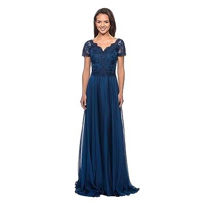Chiffon Mother Of The Bride Dress V Neck Lace Top Applique Tea Length Party Gown
