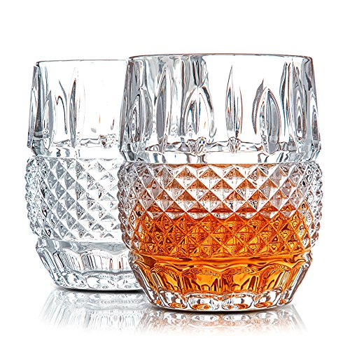 Lead Set Crystal Free (Unique Whiskey Glasses Set of 2. Lead Free Crystal Rocks Tumblers (10oz). 'Crystal Cask' by Van Daemon for Liquor, Bourbon or Scotch. Perfect as a Gift.)