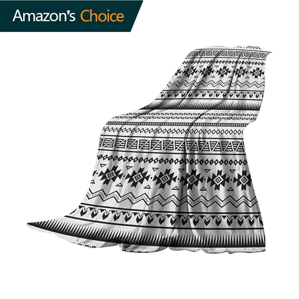 Native American Picnic Blanket,Aztec American Folkloric Art Borders Ancient Tribal South America Culture Super Soft Light Weight Cozy Warm Plush Hypoallergenic Blanket,50'' Wx70 L Black White