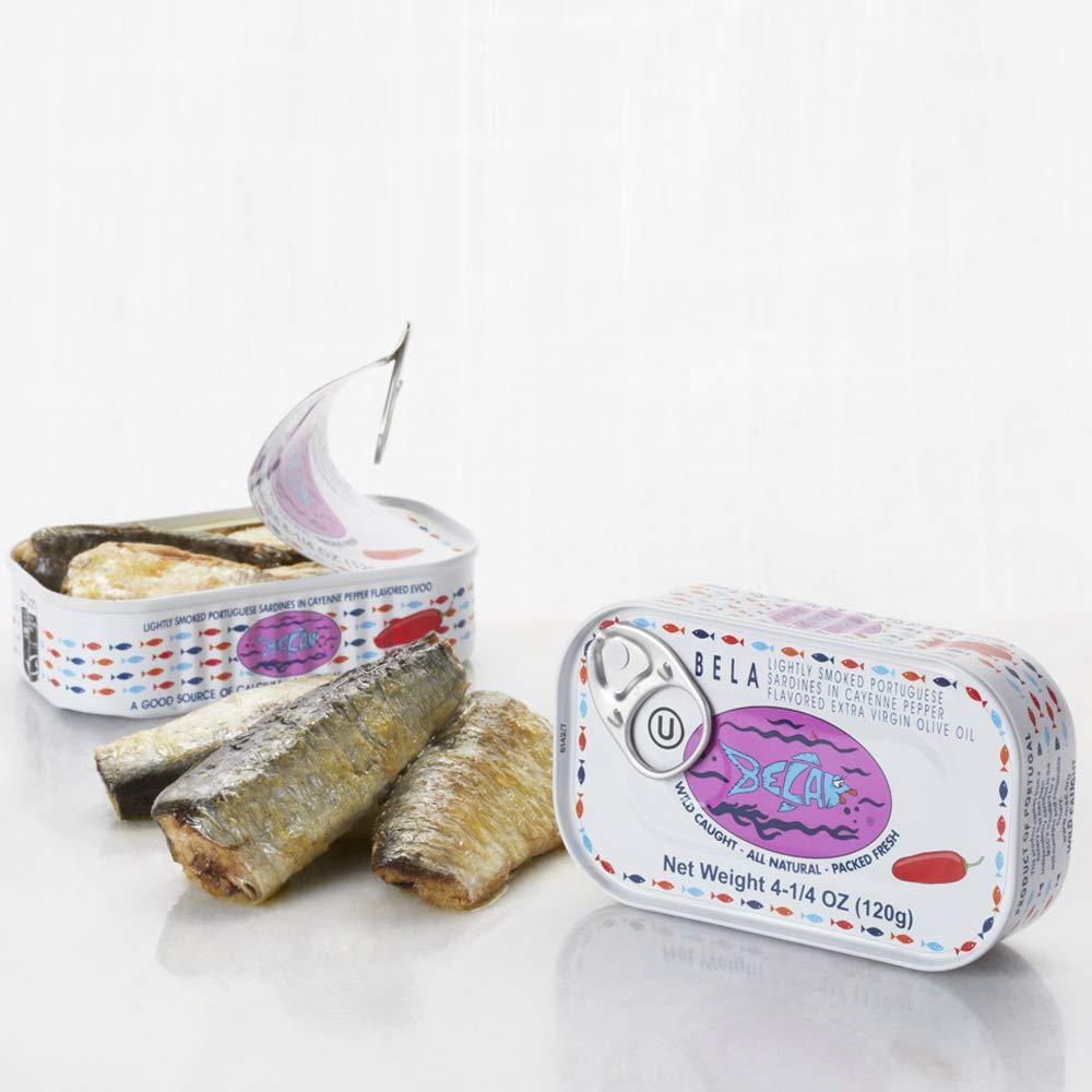 Bela Lightly Smoked Sardines in Organic Extra Virgin Olive Oil with Piri Piri - 12 pack