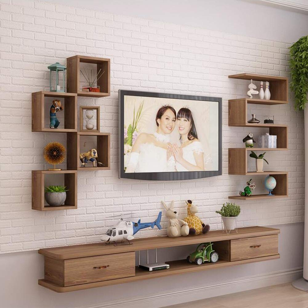 Bookcases Storage Shelf, Solid Wood Floating Shelf Wall Mount Living Room TV Background Wall Decorative Frame Variety of Styles Yixin (Color : A, Size : 120120)