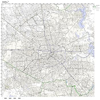 Working Maps Houston, TX Zip Code Map Laminated