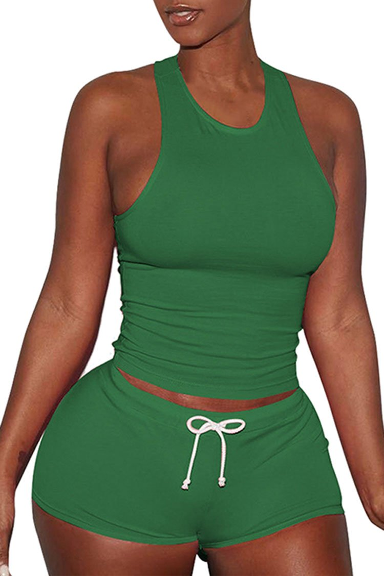 VamJump Womens Sports Outfit Sets 2 Piece Racerback Tank Top High Waist Shorts 2 Piece Sets Green XXL by VamJump