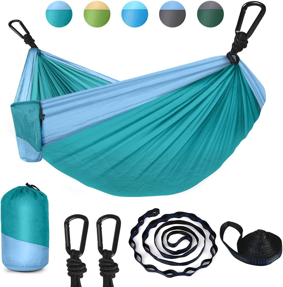 HULOSAN Camping Hammock, Double Single Hammock Portable Outdoor Hammock Nylon Parachute with 2 Tree Straps, 2 Carabiners for Camping,Travel,Beach,Backyard,Patio,Hiking