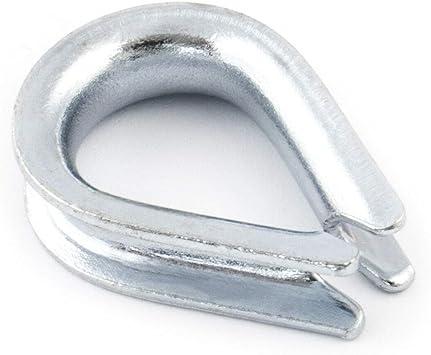 5x Dedales de cable 3 mm Dedales de cuerda de alambre Guardacabos de acero galvanizado DIN 6899 B Accesorios de cuerdas de acero dedal de alambre | ...