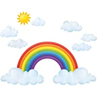 DECOWALL DL-1713L Rainbow and Clouds Kids Wall Stickers Wall Decals Peel and Stick Removable Wall Stickers for Kids Nursery Bedroom Living Room (XLarge)