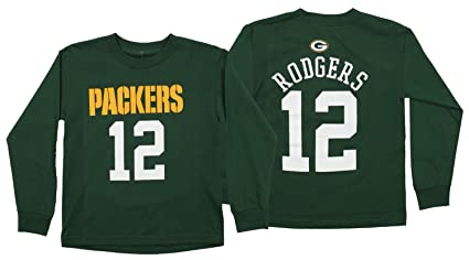 f8f6ae75 Outerstuff NFL Youth's Green Bay Packers Aaron Rodgers Long Sleeve  Mainliner Tee, Green Small (