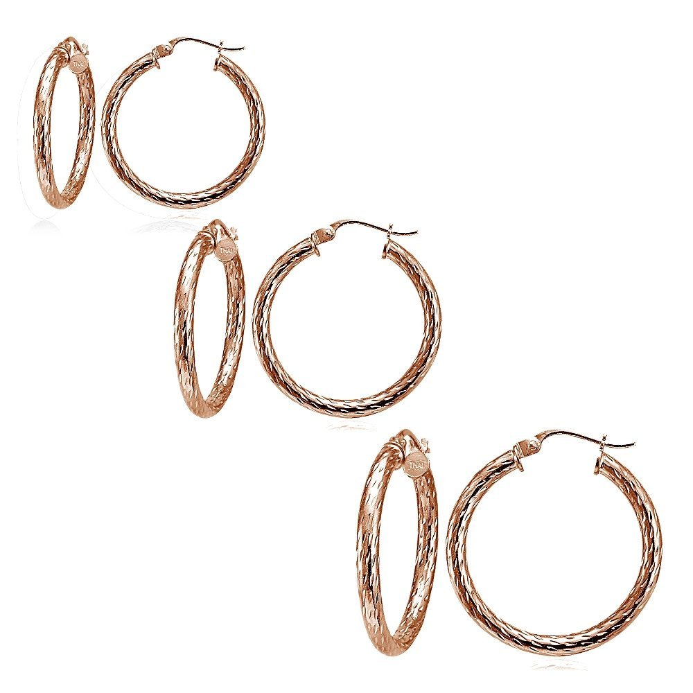 72f116d98 Amazon.com: Hoops & Loops Set of 3 Rose Gold Tone over Sterling Silver  2.5mm Diamond-Cut Polished Hoop Earrings, 25mm, 30mm, 35mm: Jewelry