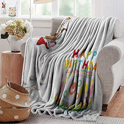 Swaddle Blanket,Kids Birthday,Russel Dog Domestic Puppy Pet with Hat at a Party Celebration with Yummy Cake,Multicolor,Lightweight Extra Soft Skin Fabric,Not Allergic 60''x70'' by PearlRolan (Image #5)