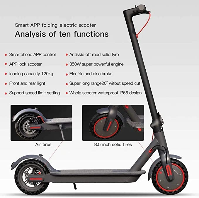 with Powerful Battery Speed Up to 25 km//h for Adults and Teenagers Town and City Commuter Short Trips 350W Electric Scooter 8.5 Weight Portable Folding with Powerful Headlight /& App Control