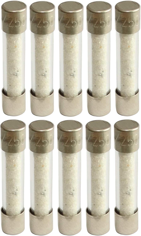 AERZETIX 10x fusible Semi-Lent Semi-retard/é Semi-temporis/é en Verre 2.5cm 2A 2000mA 250VAC 5x25mm C42300
