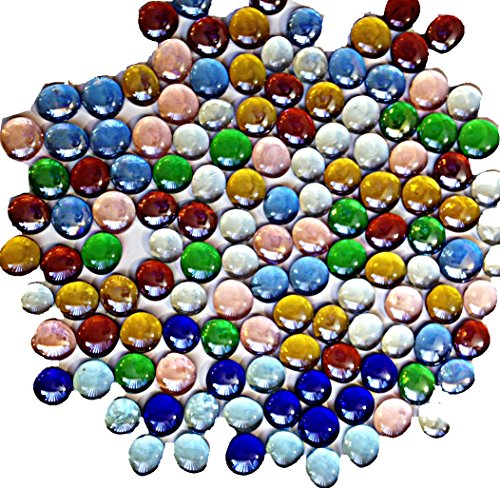 100 Mixed Glass Mosaic Colored Stone ,Pebbles, Flat Bottom Marbles, Gemstones (Assorted Colors) by KI