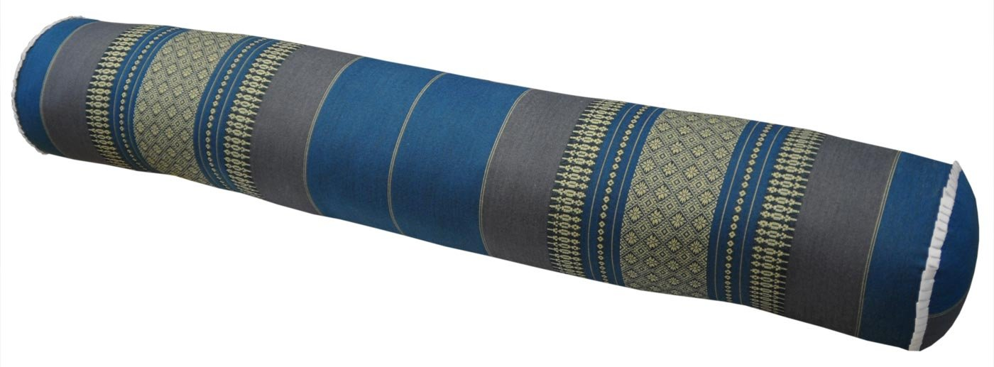 Thai cushion round bolster, pillow, sofa, imported from Thaïland, blue/grey, relaxation, beach, pool, meditation garden (81912)