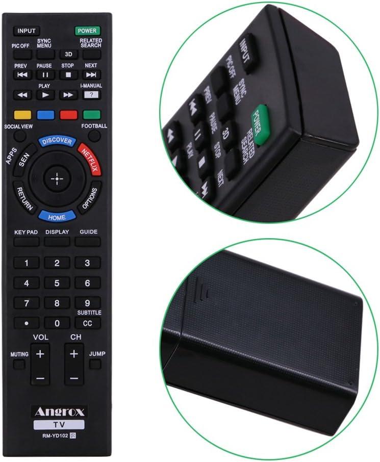 angrox rm-yd RM YD Universal TV mando a distancia de repuesto para SONY BRAVIA SMART TV remoto rm-yd087 rm-yd102 rm-yd103 HDTV LCD LED 3d: Amazon.es: Electrónica