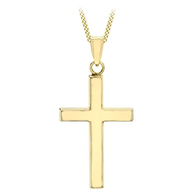 Carissima Gold Women's 9 ct Yellow Gold Small Cross Pendant Necklace of Length 45.72 cm feMtkl