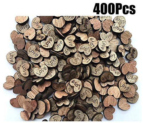 NIGHT-GRING 400pcs Rustic Wooden Love Heart Wedding Table Scatter Decoration Crafts Children's DIY Manual -