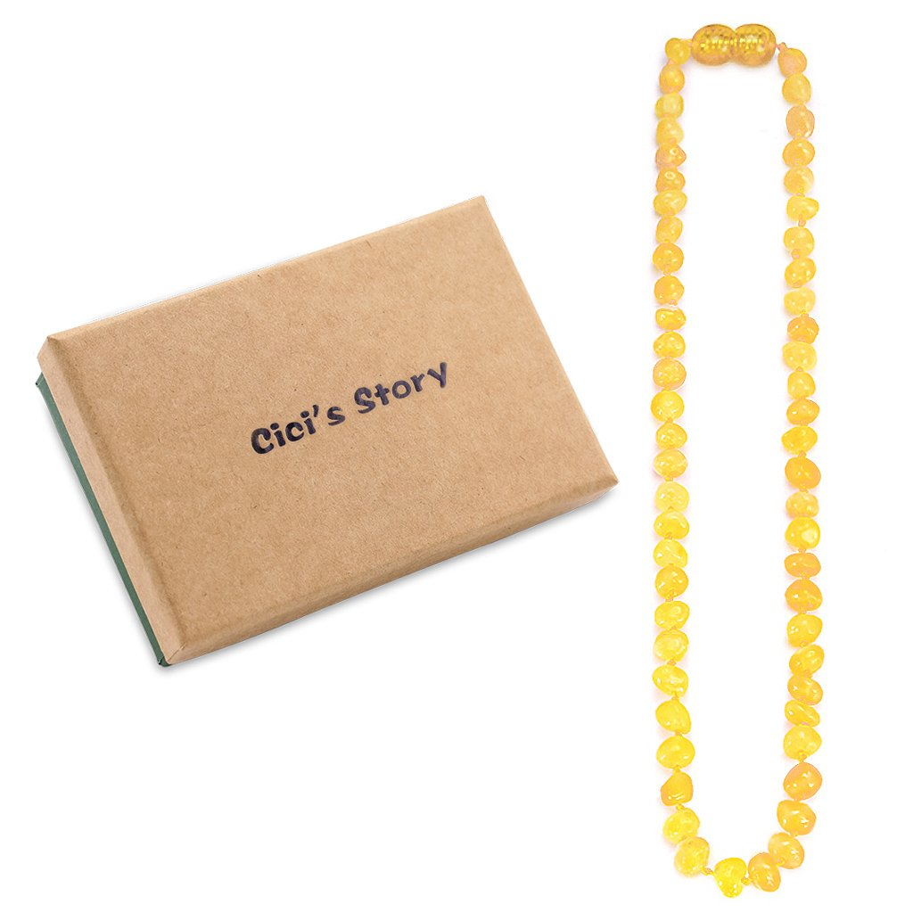 Raw Baltic Amber Teething Necklace for Baby (Unisex)(Butterscotch Raw)(13 Inches) - Baby Gift Sets - Natural Anti Inflammatory Beads.Teething Pain Reduce Properties Cici' s Story S00001008
