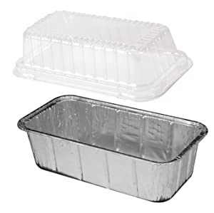 Handi-Foil 2 lb. Aluminum Foil Loaf Pan w/Clear HIGH Dome Lid 25/Pk -Disposable Bread Container (pack of 25)