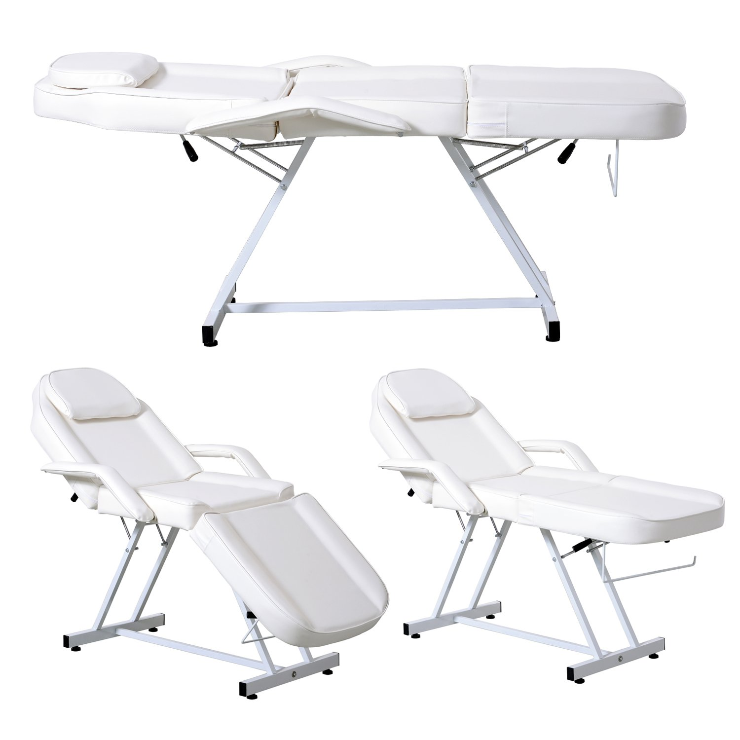 Apelila Beauty Salon Chair Massage Table Bed Folding Therapy SPA Bed Facial Tattoo Chair White