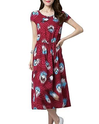 Damen Große Größe Gedrucktes Kleid Leinenkleid Sommerkleider Strandkleid  Party Kleider rot M a0d75f3a9b